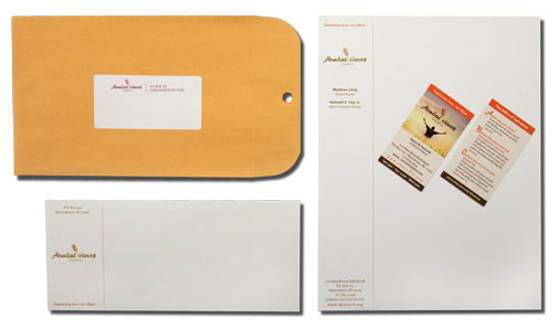 Letterhead, envelope, mailing label, double-sided business card