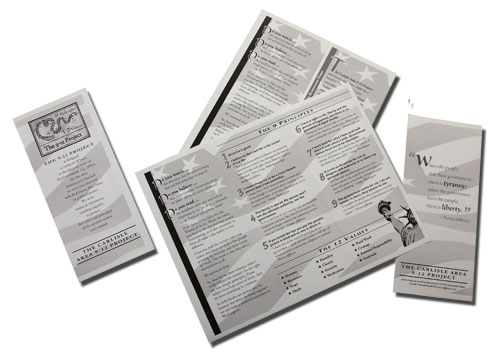 black and white tri-fold brochure