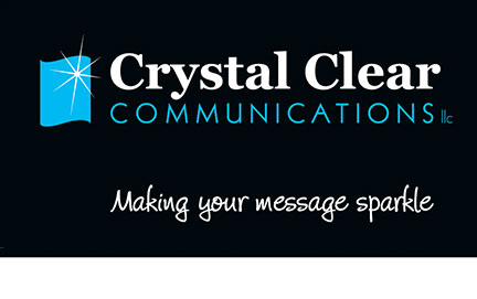 crystal clear communications logo and tagline