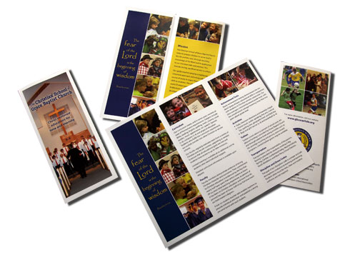 tri-fold, full-color brochure